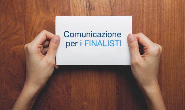 COMUNICAZIONE PER I FINALISTI della 4° edizione
