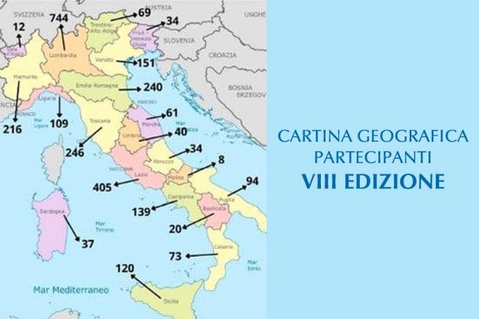 Cartina geografica dei partecipanti dell'Ottava Edizione